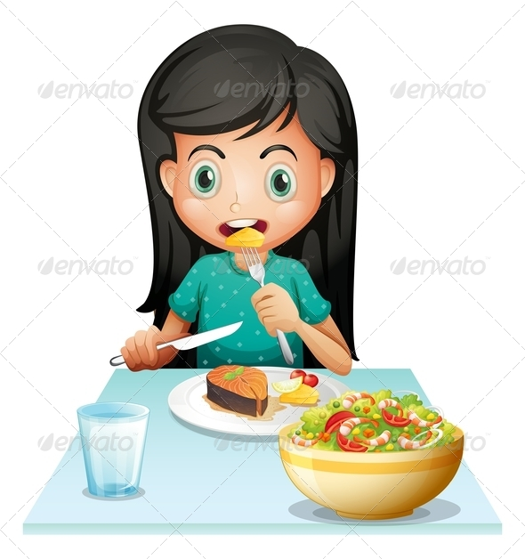 GraphicRiver Girl eating her lunch 7852590