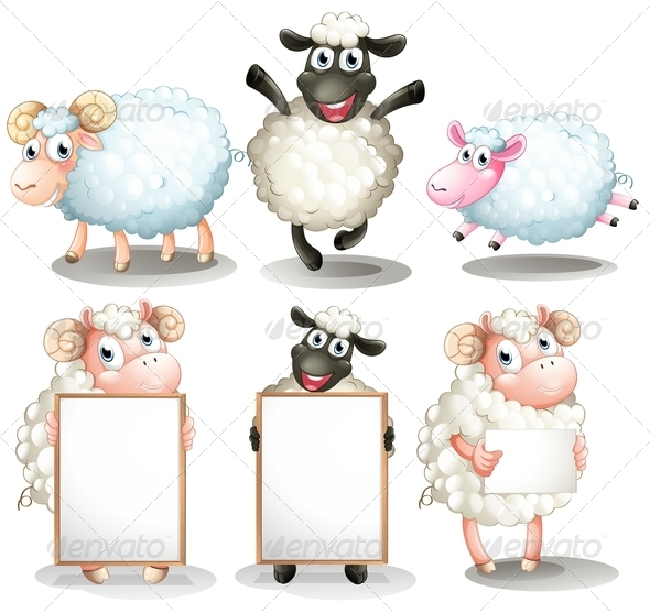 GraphicRiver Sheep and lambs with empty boards 7852613