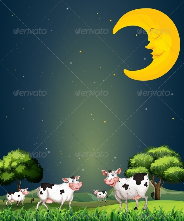 Cows under the sleeping moon