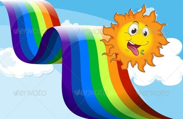 GraphicRiver Happy sun and Rainbow 7852697