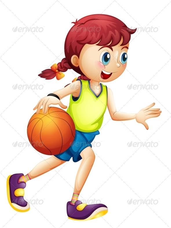 GraphicRiver Girl playing basketball 7852711