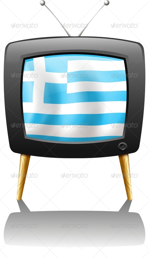 GraphicRiver TV screen with the flag of Greece 7852723