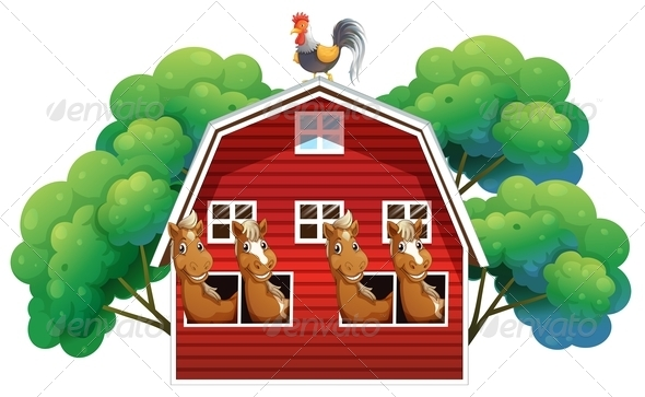 GraphicRiver A farmhouse with four horses and a rooster 7852728