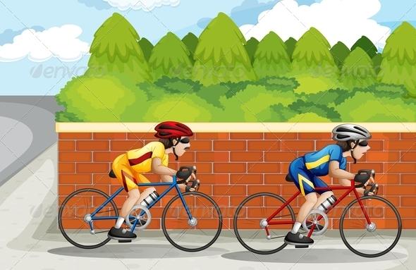 GraphicRiver Two men biking 7852733