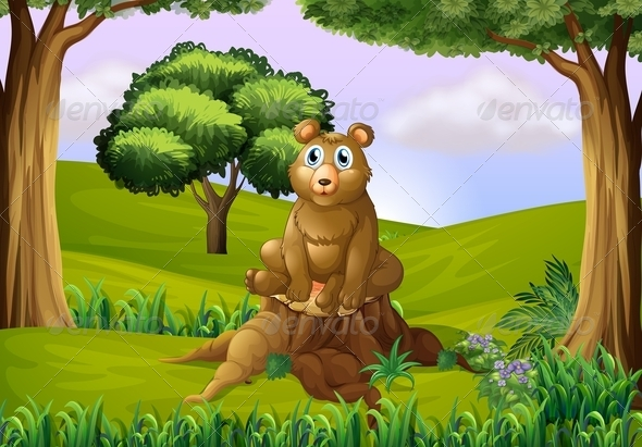 GraphicRiver Fat bear on stump 7852761