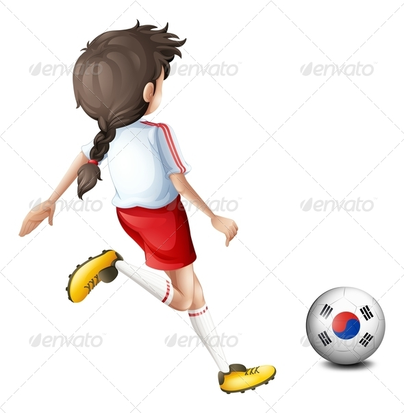 GraphicRiver Girl kicking South Korean football 7852763