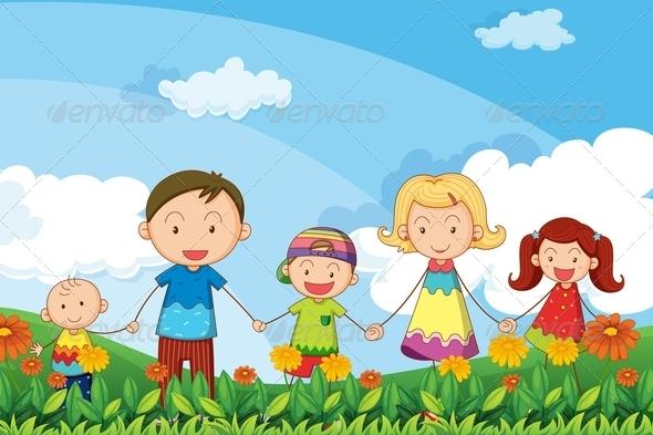 Family strolling in garden