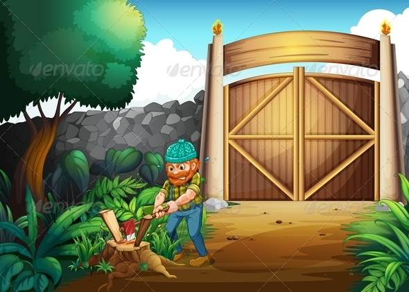 GraphicRiver Woodman chopping wood 7852782