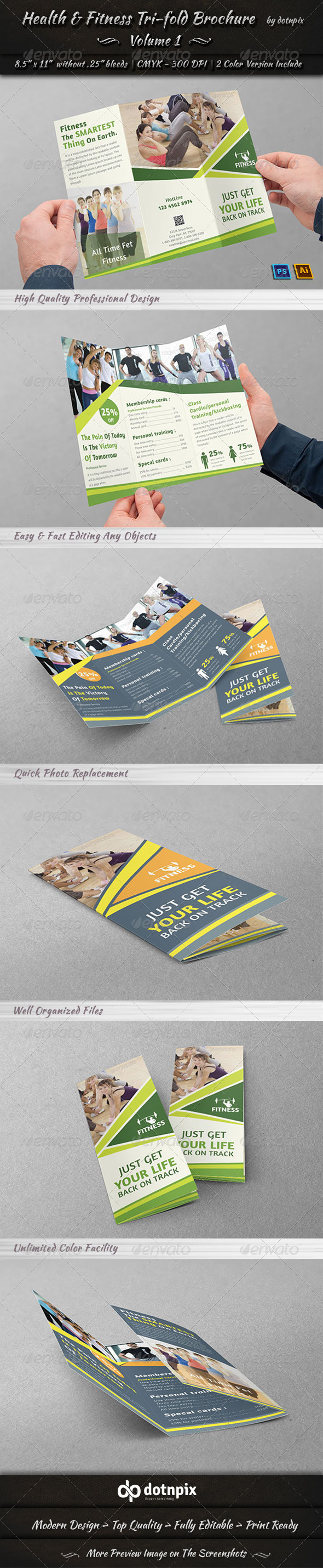 GraphicRiver Health & Fitness Tri-Fold Brochure Volume 1 7852963