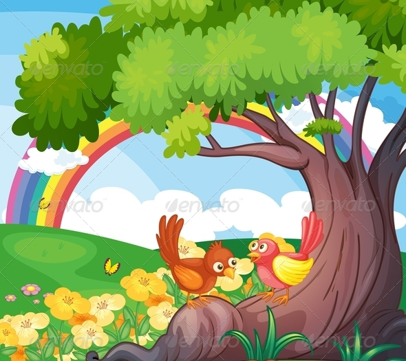 GraphicRiver Birds under a tree with rainbow 7853061