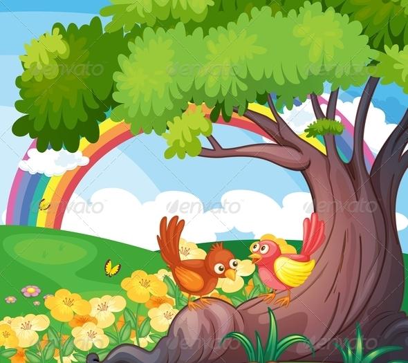 Birds under a tree with rainbow