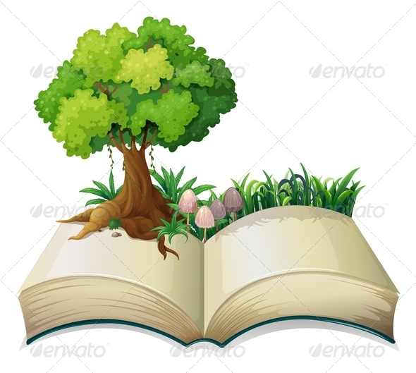 GraphicRiver An open book with a tree 7853148