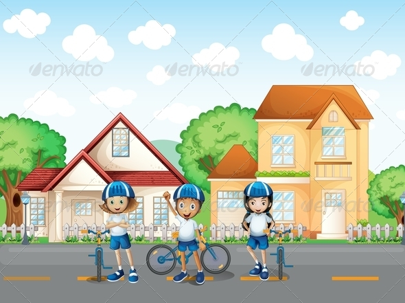 GraphicRiver Three cute bikers on the road 7853220
