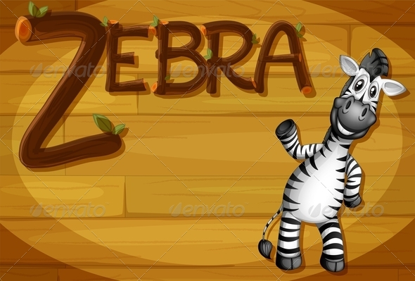 GraphicRiver Wooden frame with zebra 7853245
