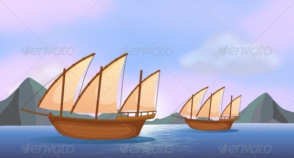 GraphicRiver Two ships in the ocean 7853251