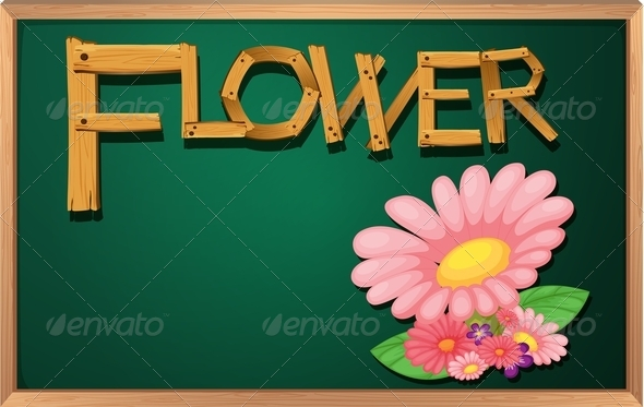 GraphicRiver Blackboard with Flower 7853284