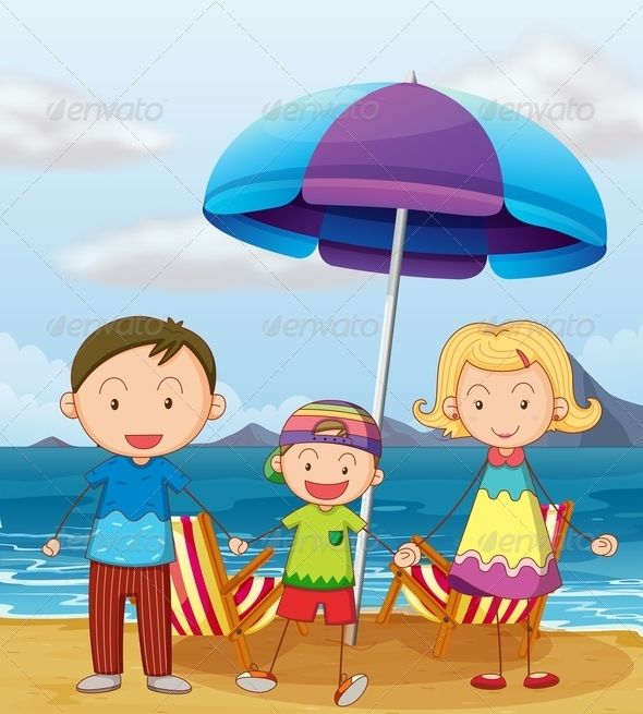 GraphicRiver Family on the Beach 7853316