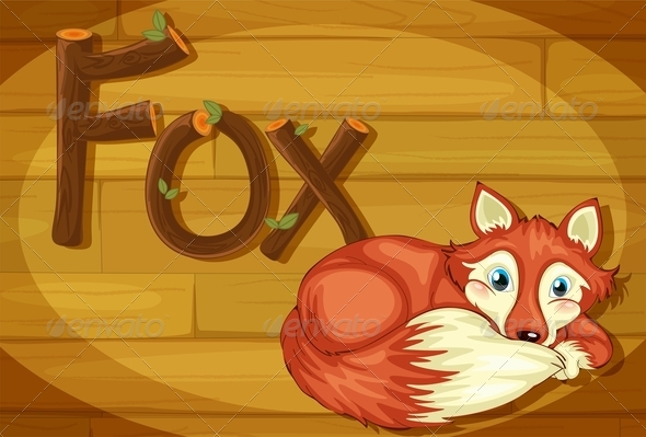 GraphicRiver Wooden Frame with Fox 7853320