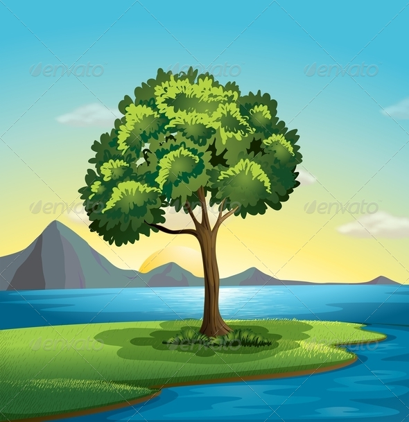 GraphicRiver Tree Near the Ocean 7853467