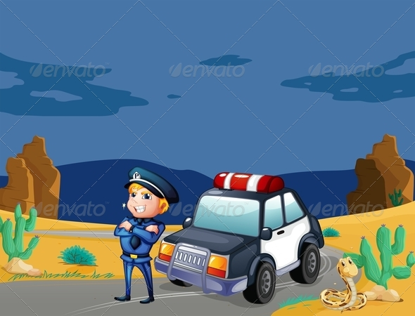 GraphicRiver Smiling Policeman Beside Patrol Car 7853476