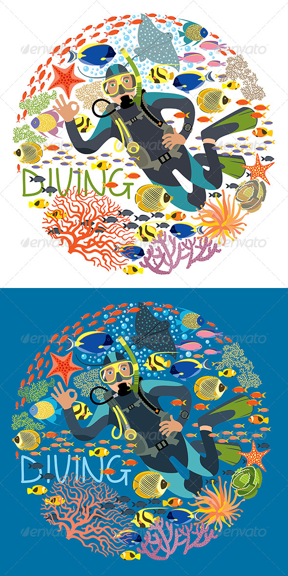 GraphicRiver Diver With Underwater Plants And Tropical Fishes 7853579