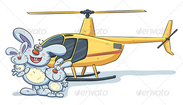 GraphicRiver Bunny Family with Helicopter 7853580