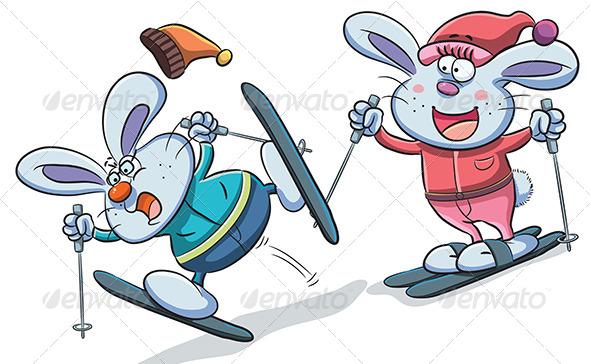GraphicRiver Bunny Playing Skiing 7853586
