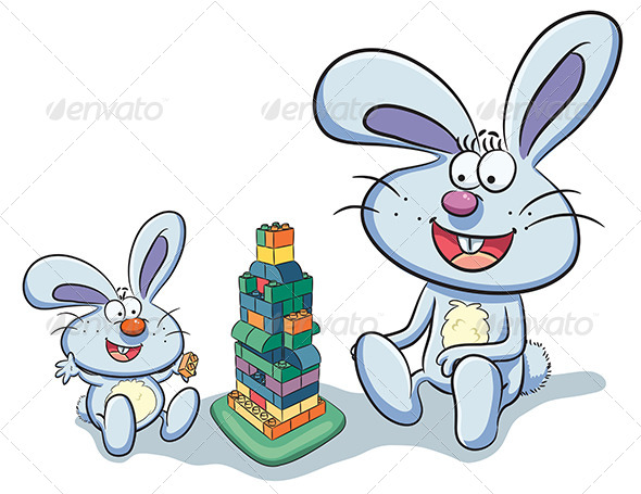 GraphicRiver Bunny Playing Puzzle 7853596