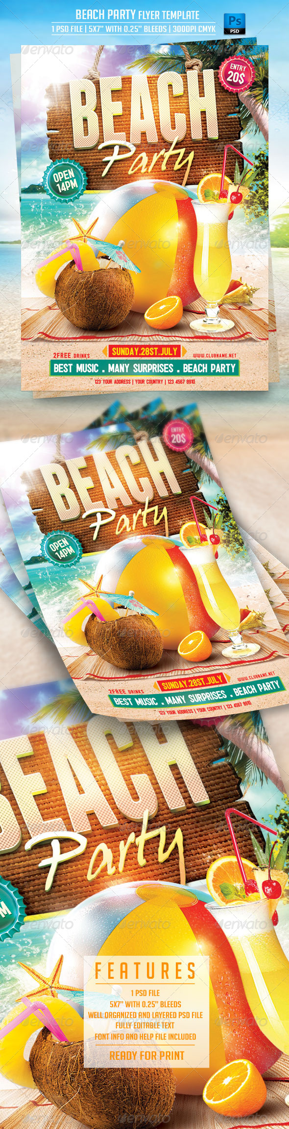 GraphicRiver Beach Party Flyer Template 7853599