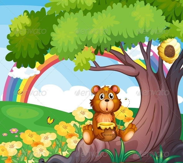 GraphicRiver Bear with honey on Tree 7853610