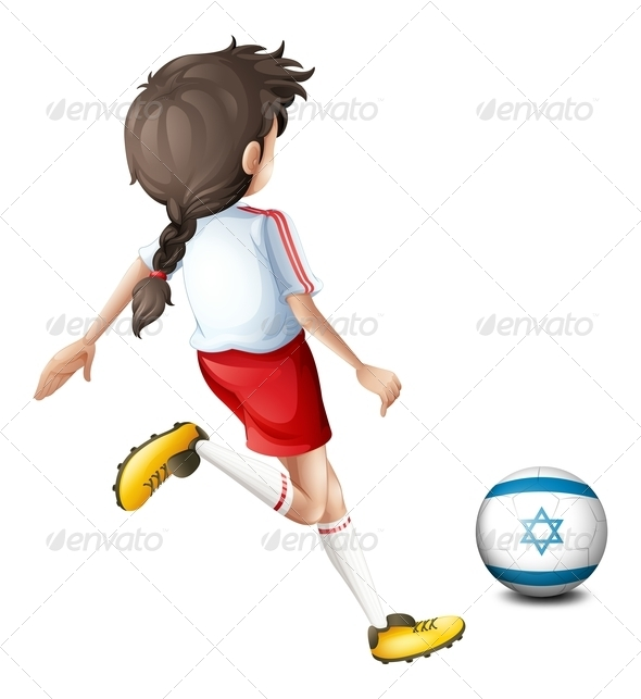 GraphicRiver Girl playing with Israel Soccer Ball 7853620