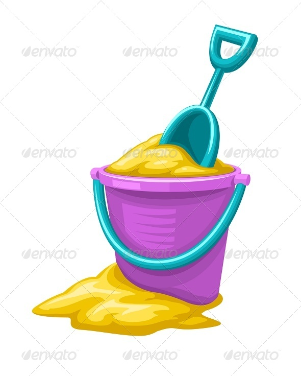 GraphicRiver Toy Bucket and Scoop with Sand 7853629