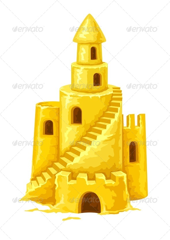 GraphicRiver Sand Castle with Towers Windows and Stairs 7853633