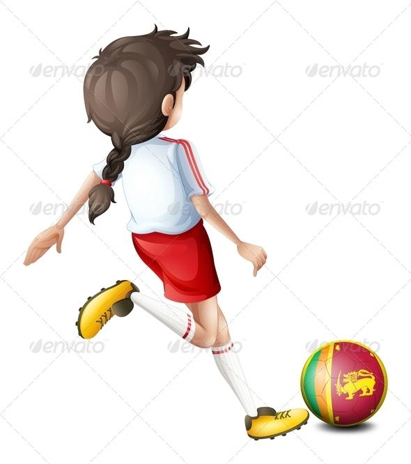 GraphicRiver Girl Playing with Sri Lanka Soccer Ball 7853635