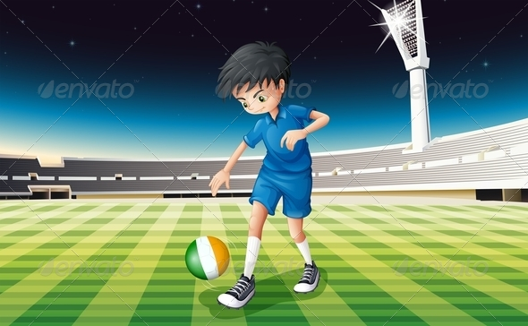 GraphicRiver Boy on Soccer Field with Irish Ball 7853647