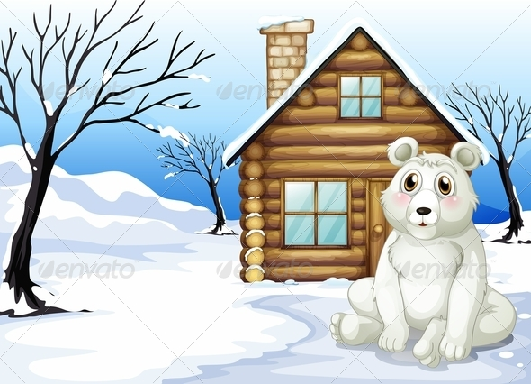 GraphicRiver Polar bear outside wooden house 7853650