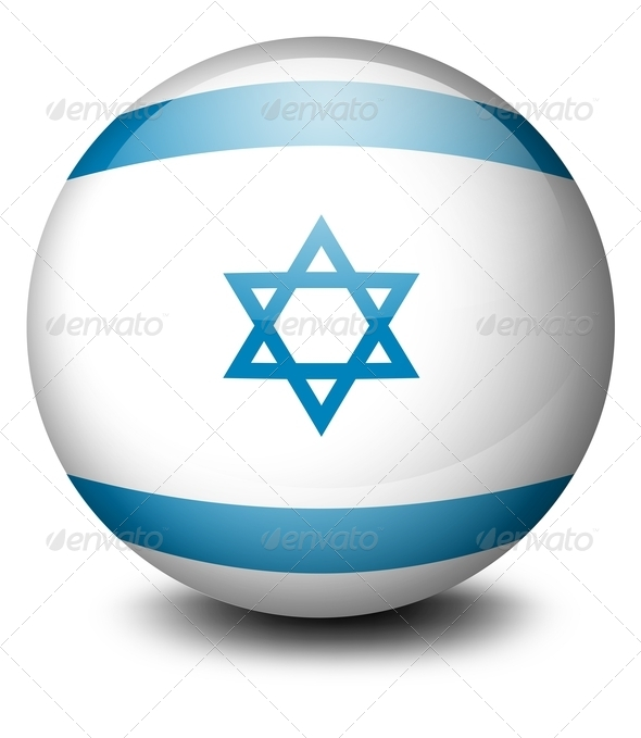 Soccer ball with the flag of Israel