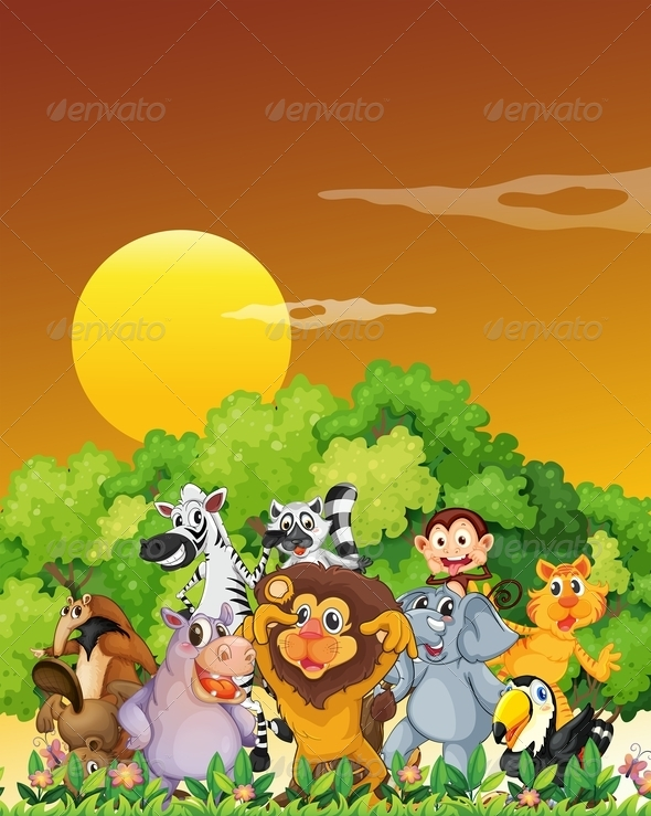GraphicRiver Group of animals in the forest 7853729