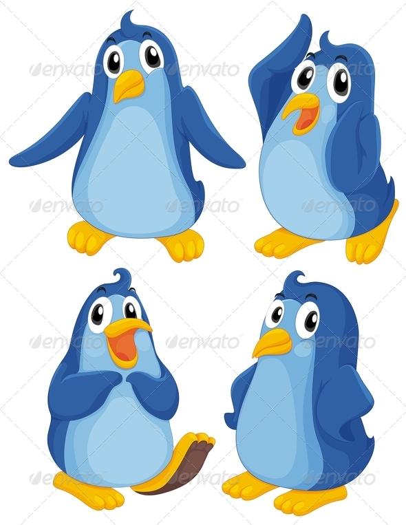 GraphicRiver Four Blue Penguins 7853778
