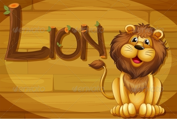 GraphicRiver Wooden Frame with Lion 7853860
