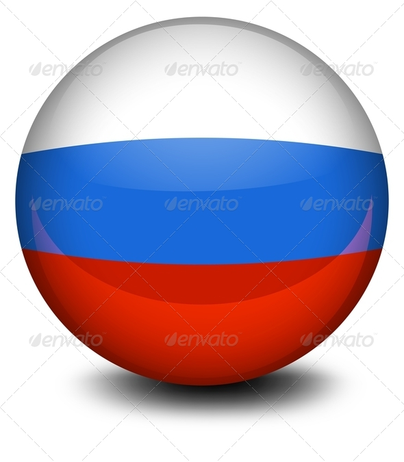 Ball with Russian Flag