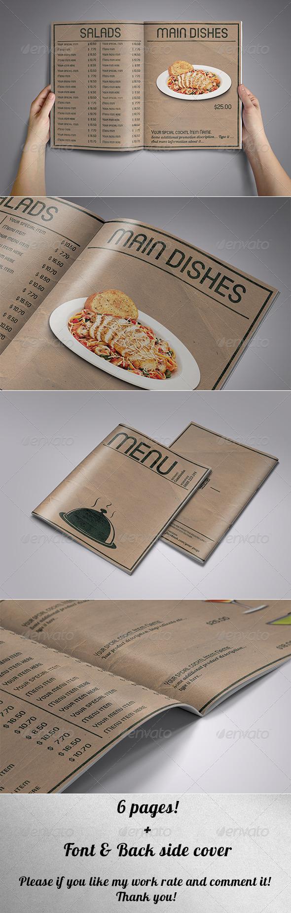 6 Pages Food Menu Vintage Style
