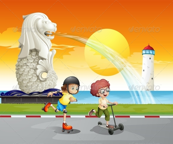 GraphicRiver Kids playing near statue of Merlion 7853956