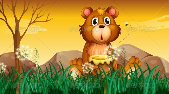 Cute bear with pot of honey