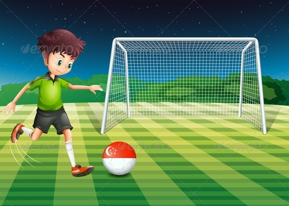 GraphicRiver Boy at Soccer Field with Singapore Ball 7853975