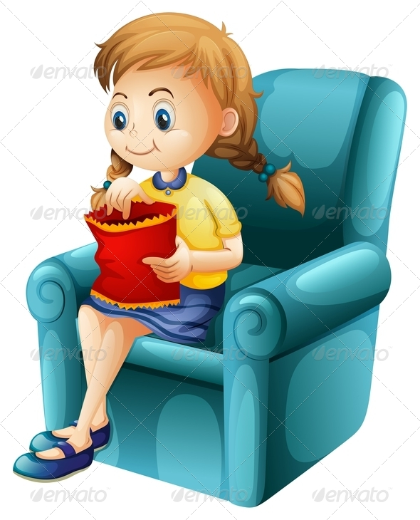 GraphicRiver Girl Sitting Eating Chips 7853976