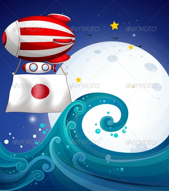 GraphicRiver Balloon with the flag of Japan 7854001