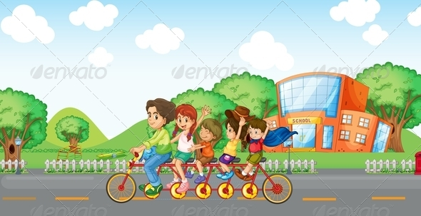 GraphicRiver Family Travelling on Bike 7854003
