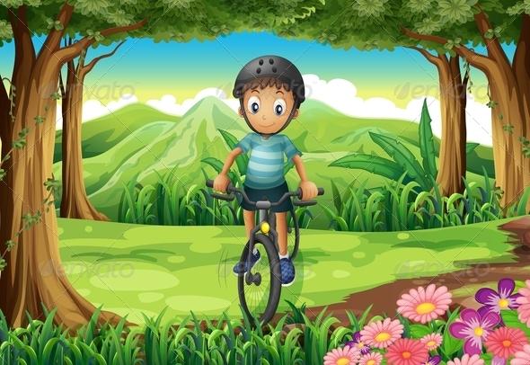 GraphicRiver Boy Biking in Forest 7854008