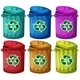 Six Recycling Garbage Cans